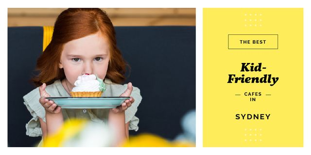 Girl holding cupcake on plate Twitter Design Template