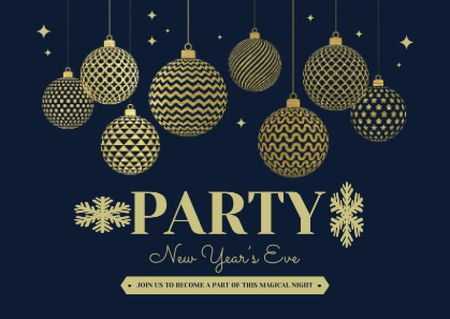 Plantilla de diseño de New Year Party Announcement Card