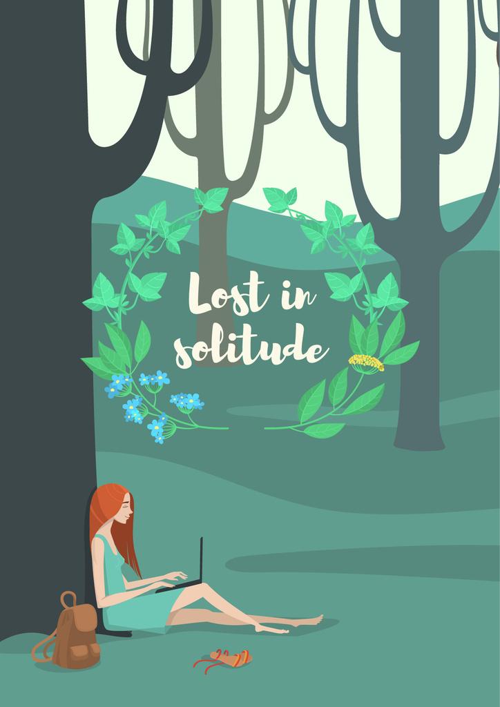 Lost in solitude illustration — Maak een ontwerp
