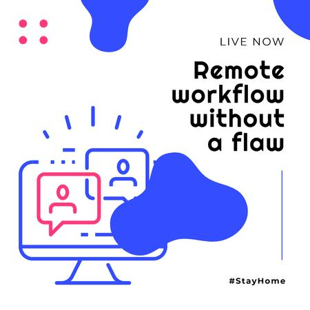 Modèle de visuel #StayHome Remote Workflow topic Stream Ad - Instagram
