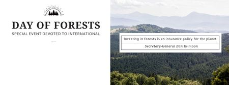 Plantilla de diseño de International Day of Forests Event Scenic Mountains Facebook cover