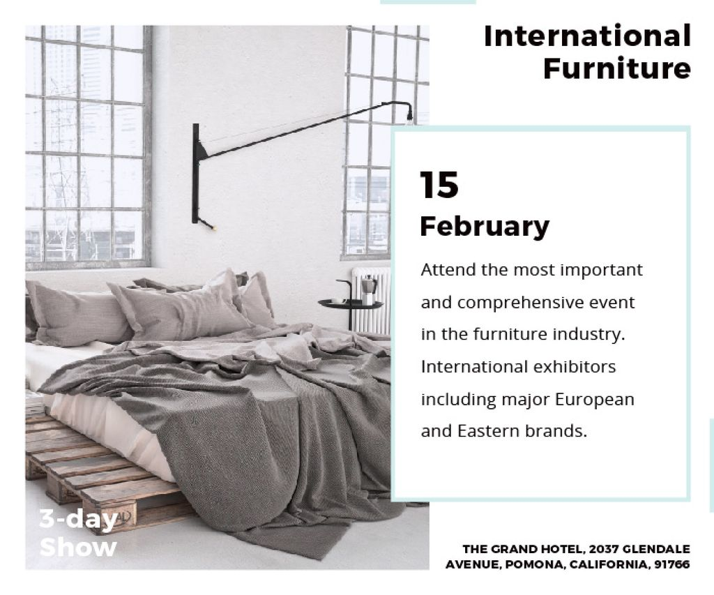 Furniture Store Ad Bedroom in Grey Color — Crear un diseño