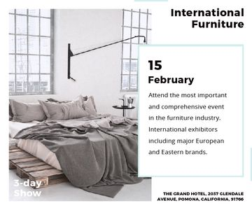 Furniture Store Ad Bedroom in Grey Color | Large Rectangle Template