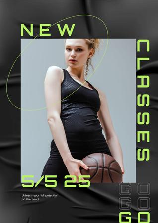Template di design Fitness Classes ad with Sportive Girl Poster