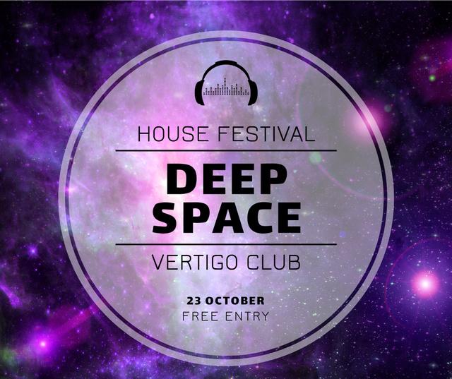 Music Festival invitation on Purple Sky Facebook Modelo de Design