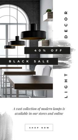 Black Friday Sale Lamps in modern interior Instagram Story Modelo de Design