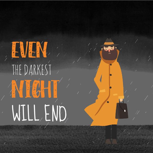 Man Waiting Under Rain Animated Post Design Template