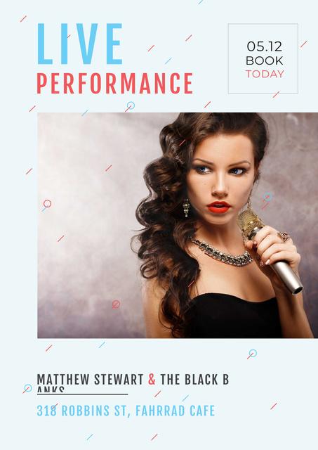 Ontwerpsjabloon van Poster van Performance with gorgeous female singer