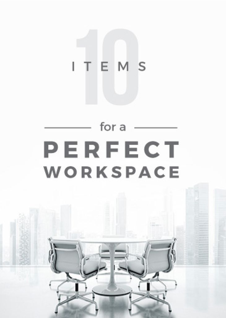 Workspace Furniture Guide Office in White | Flyer Template — Maak een ontwerp