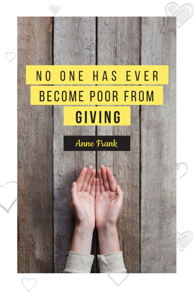Plantilla de diseño de Charity Quote with Open Palms Tumblr