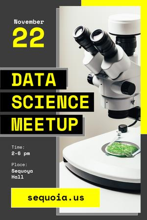 Modèle de visuel Science Event Announcement with Microscope in Lab - Pinterest