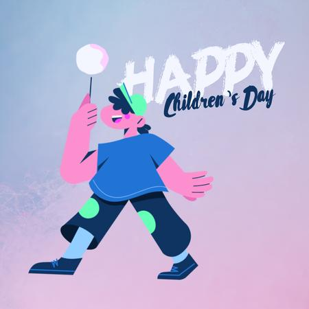 Happy kid with candy on Children's Day Animated Post Design Template