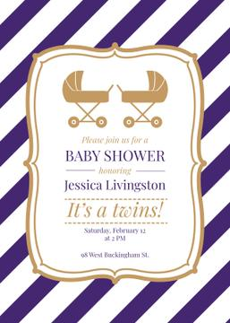 Baby Shower Invitation Strollers in Frame