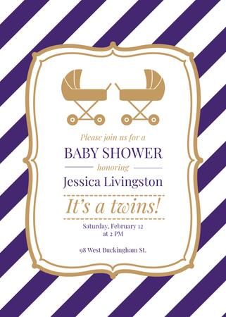 Baby Shower Invitation Strollers in Frame Invitation Modelo de Design