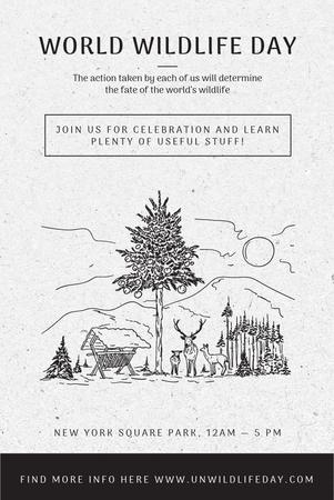Ontwerpsjabloon van Pinterest van World Wildlife Day Event Announcement with Nature Drawing