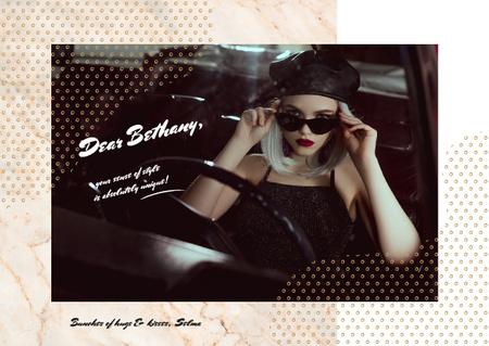Stylish girl in car Postcard – шаблон для дизайна