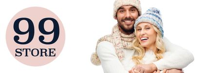 Online knitwear store with Smiling Couple Email header – шаблон для дизайну