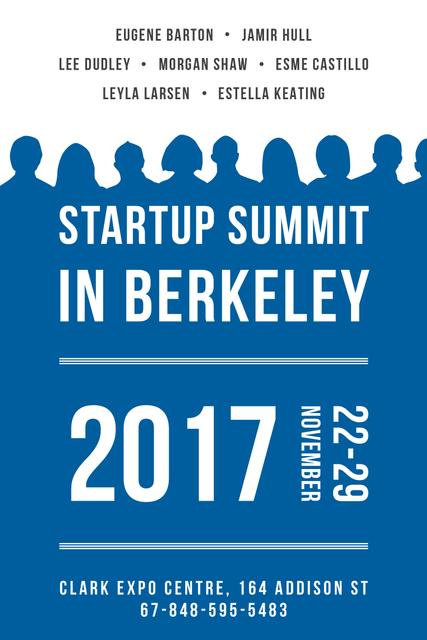 Startup Summit Announcement with Businesspeople Silhouettes Pinterest Tasarım Şablonu