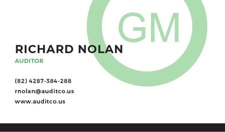 Auditor Contacts with Circle Frame in Green Business card Modelo de Design