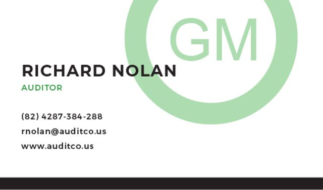 Ontwerpsjabloon van Business card van Auditor Contacts with Circle Frame in Green