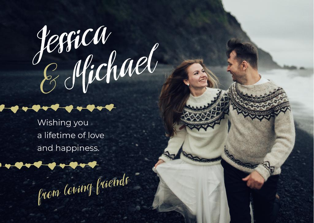 Greeting From Friends Happy Couple at Seacoast | Card Template — Crear un diseño