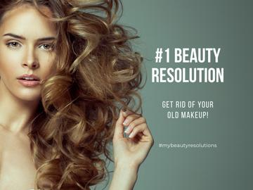 beauty resolution banner with curly young woman