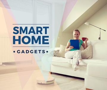 Smart Home ad with Woman using Vacuum Cleaner