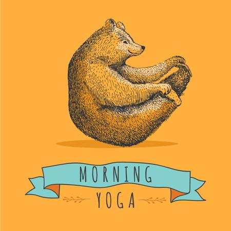 Modèle de visuel Bear Doing Morning Yoga - Animated Post