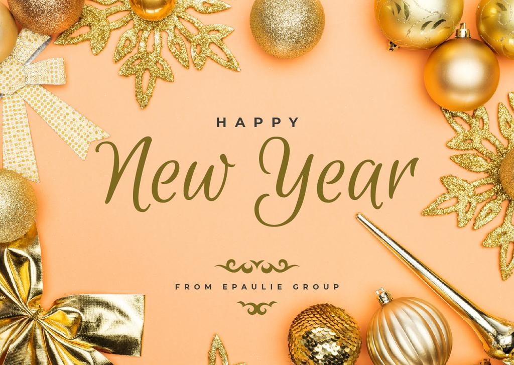 New Year Greeting Golden Decorations — Create a Design
