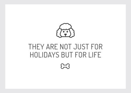 Citation about dog pet with Cute Poodle Postcard Design Template