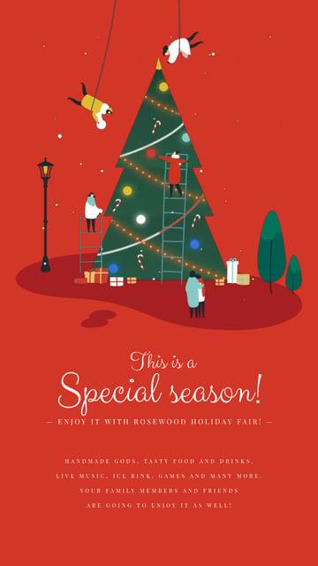Plantilla de diseño de People Decorating Christmas Tree in Red Instagram Video Story