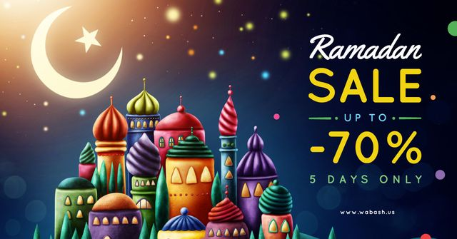 Plantilla de diseño de Ramadan Sale Offer Mosque and Town Under Moon Facebook AD