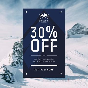 Travel Ad with Snow-capped Mountains