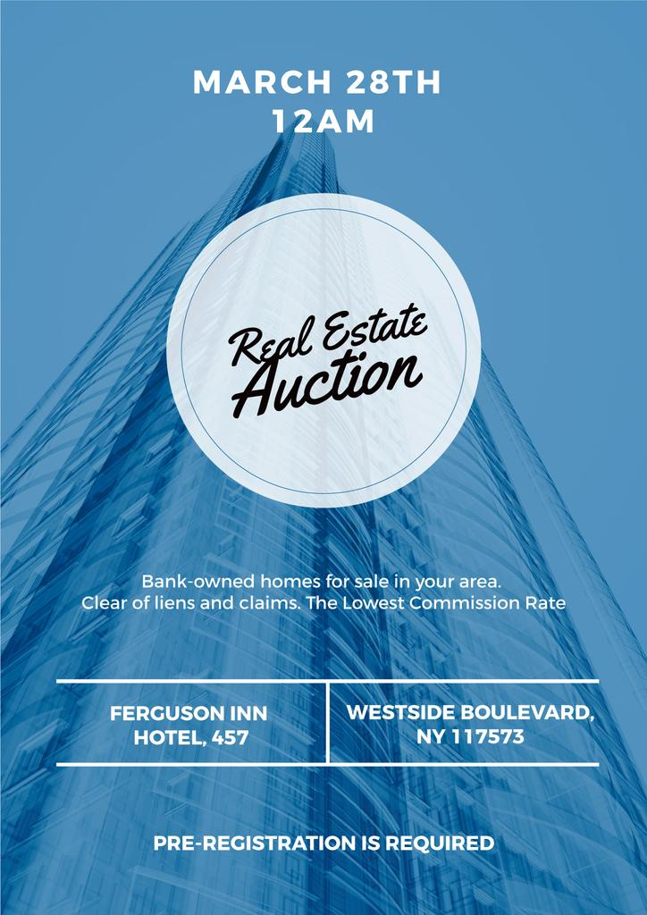 Real estate auction blue poster — ein Design erstellen
