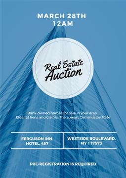 Real Estate Auction with Skyscraper in Blue