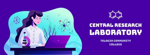 Female scientist working on laptop Facebook Video cover Modelo de Design
