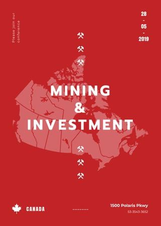 Modèle de visuel Canada map with frame for Mining industry conference - Invitation