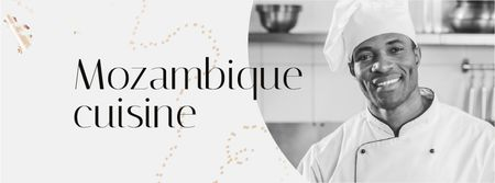 Restaurant Promotion Chef in White Toque Facebook cover Modelo de Design