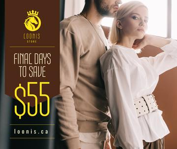 Fashion Ad Couple in Light Clothes | Facebook Post Template