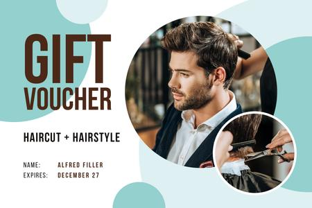 Plantilla de diseño de Hair Salon Offer with Man Cutting Hair Gift Certificate