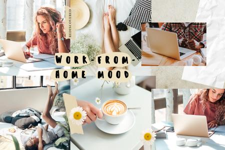 Ontwerpsjabloon van Mood Board van Cozy Workplace at home