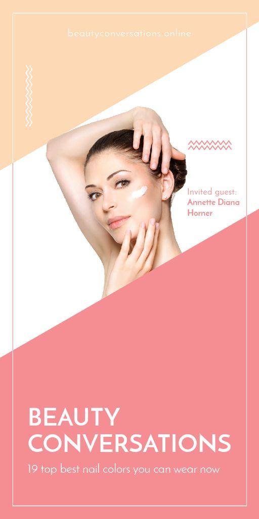 Woman applying Cream at Beauty event - Bir Tasarım Oluşturun