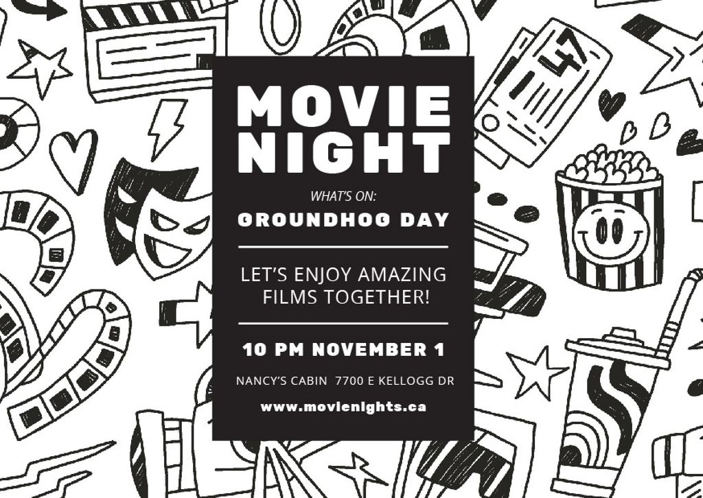 Movie night event Announcement — Crea un design