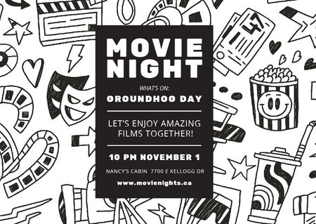 Template di design Movie night event Announcement Card