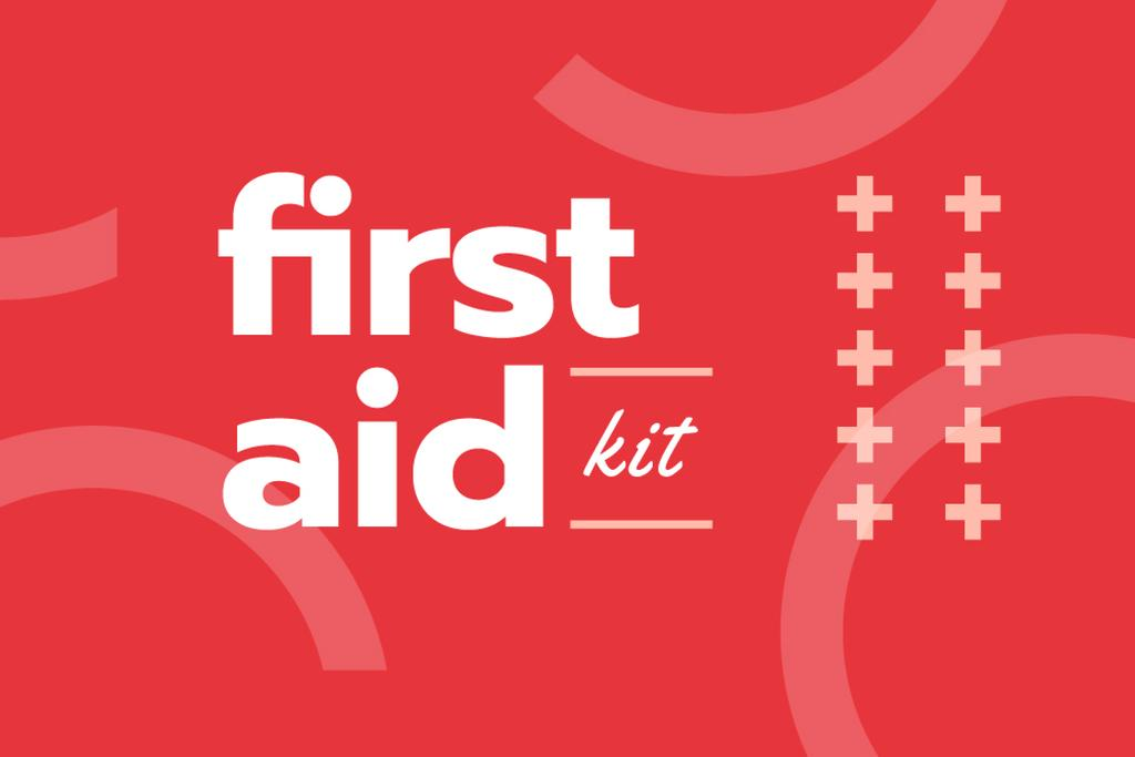 First Aid Kit promotion in red — Modelo de projeto