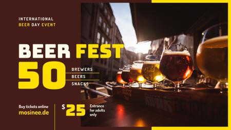 Plantilla de diseño de Beer Day Fest announcement Drinks in Glasses FB event cover