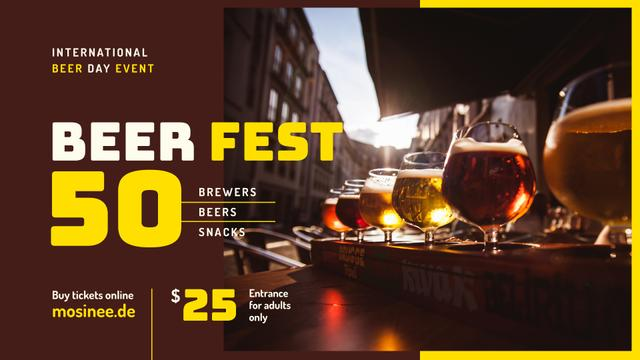 Beer Day Fest announcement Drinks in Glasses FB event cover – шаблон для дизайну