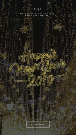 Plantilla de diseño de New Year Shining Glitter Garland Instagram Video Story
