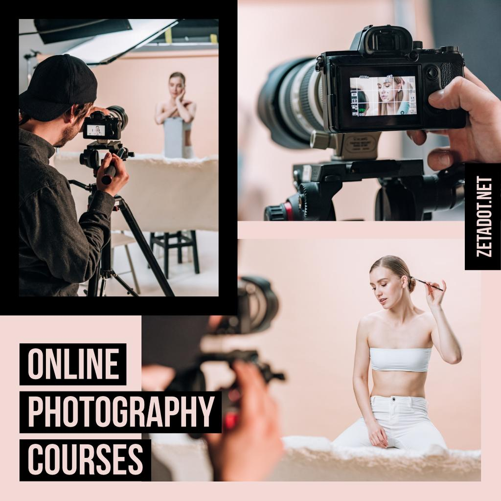 Photography Courses Ad Photographer and Woman in Studio — Створити дизайн