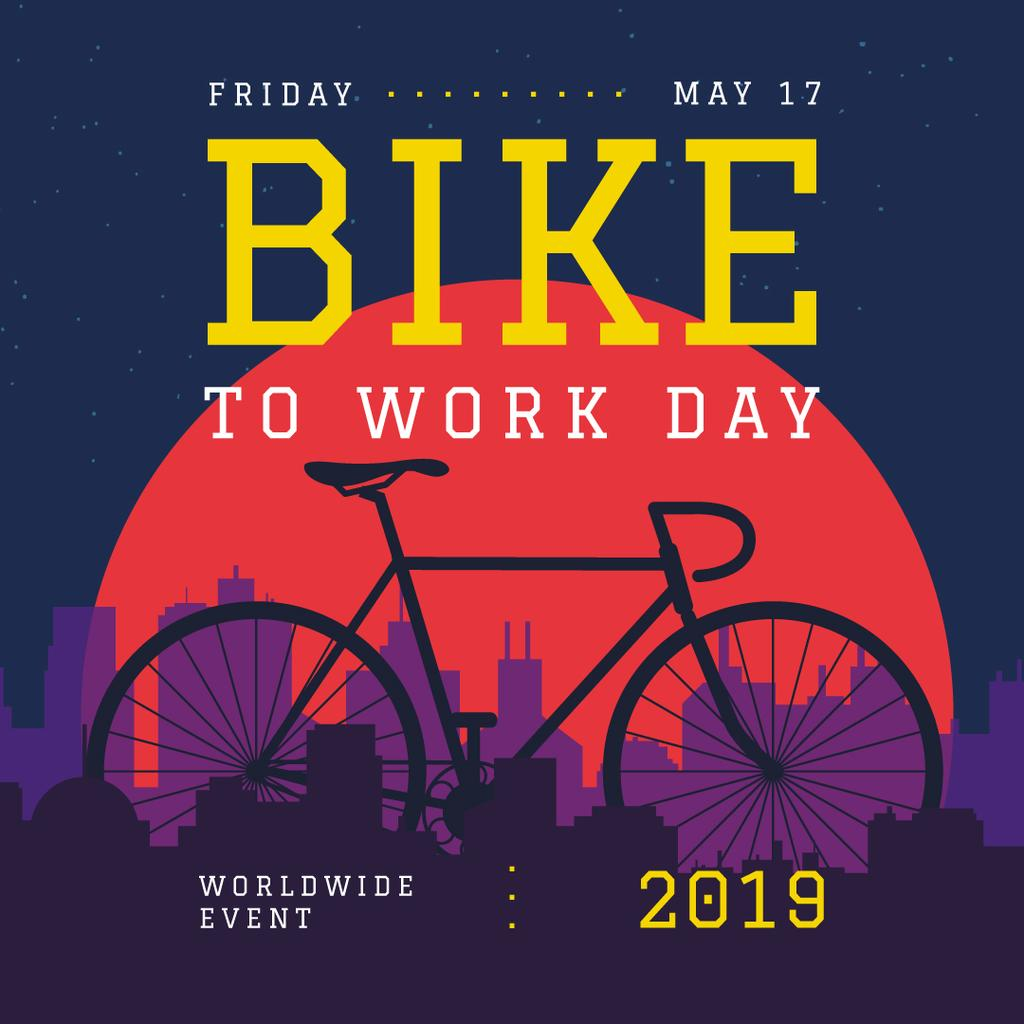 Bike to Work Day Modern Bicycle on City Background | Instagram Post Template — Crea un design